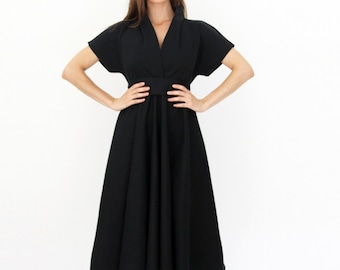 Black Midi Dress, V Neck Dress, Shirt Dress, Japanese Dress, Monroe dressCocktail Dress, Evening Dress, Little Black Dress, Elegant Dress