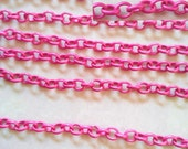 2 meters(78.7 in) -  Hot Pink Necklace Oval Unfinished Chains free nickel chain  6x5mm