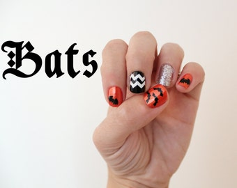 Halloween Bats Nail Stickers.  Vinyl decals pack of 20
