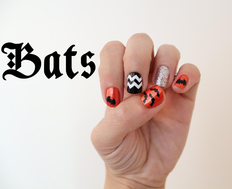 Halloween Bats Nail Stickers. Vinyl decals pack of 20