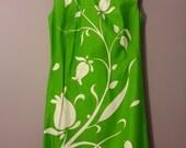 Green Flower 1960 Tunic Dress