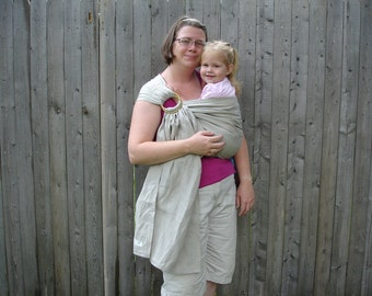 Sand 100% linen ring sling for infants and toddlers custom order with pocket in sand linen