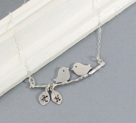 silver personalized love birds necklace new mother necklace