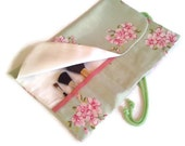 Make Up Brush Roll Cosmetic Organizer Travel pink & green floral - EJCDezines
