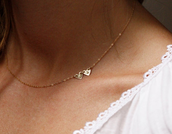 Personalized Necklace Sideways Initial Necklace Gold Initial