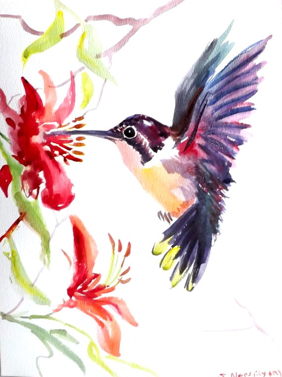 Hummingbird original watercolor painting 12 X 9 in flying