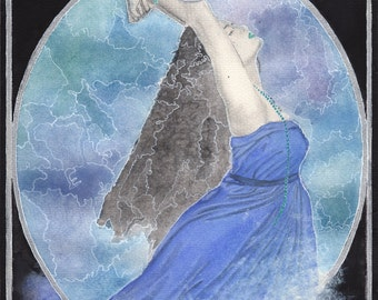 Selkie - art reproduction print of an original watercolour painting, celtic lore, mythology by Tuulia Tamminen - Size A3