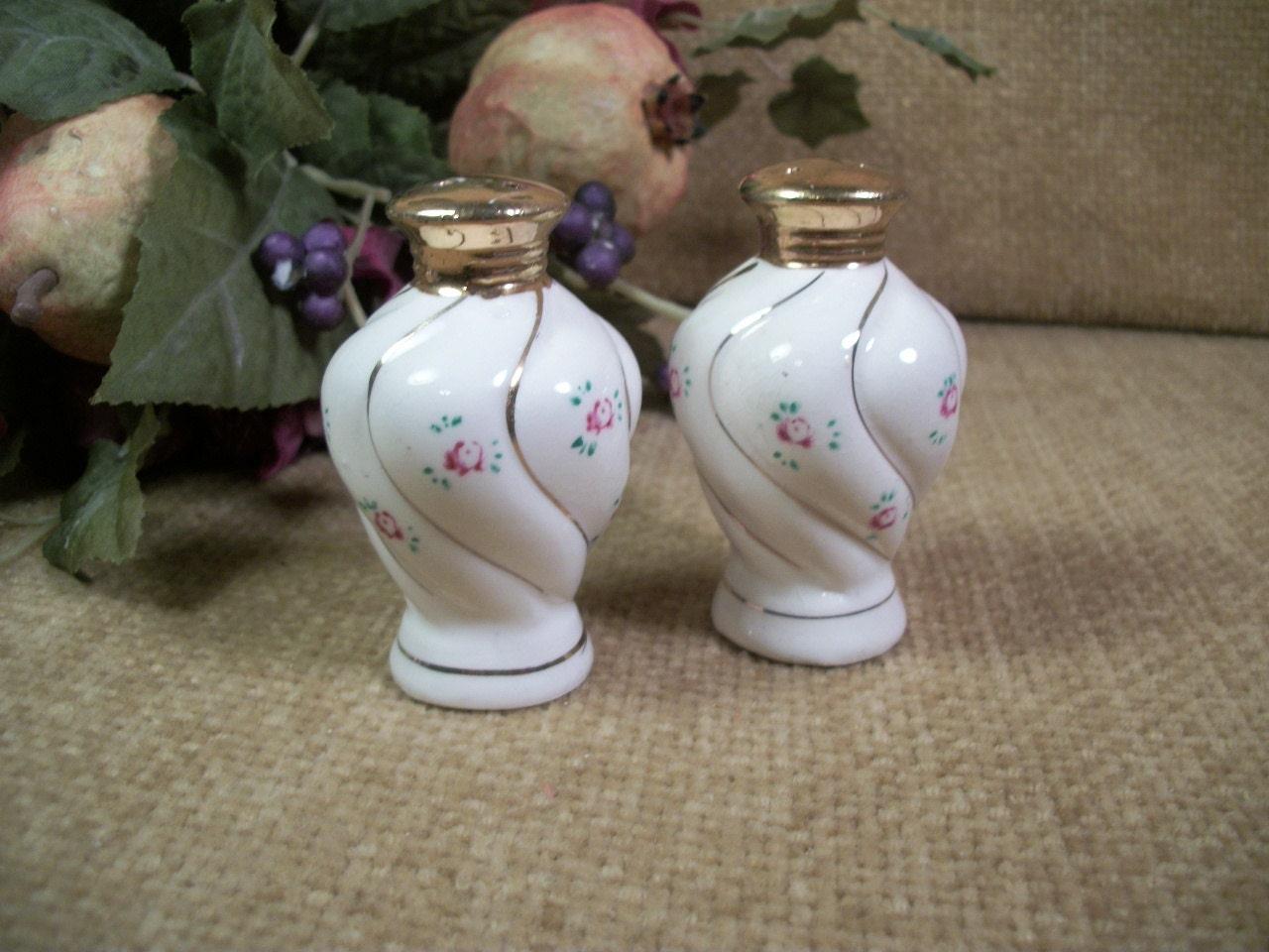 Salt And Pepper Shakers White Porcelain Rose Motif Hand