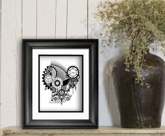 Steampunk Art Print Gothic Poster Print Black By