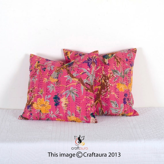 Set Of 2 Pillow, Pink Kantha Pillow, Kantha Decorative throw Pillow, kantha cushion, Floral Pillow Cushion, Indian Pillow, Cotton Pillow