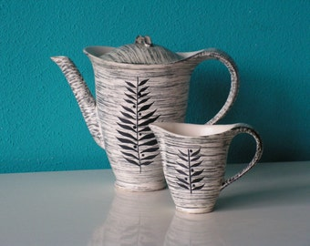 Vintage Salins Pottery France Design Teapot Coffeepot Milk Jug 1970s  Retro Home Decor Serving Kitchen Dining