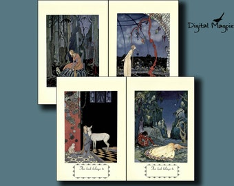 Bookplate Digital collage sheet Old French Fairytale Illustrations 6x4 inch book lover gift printable images