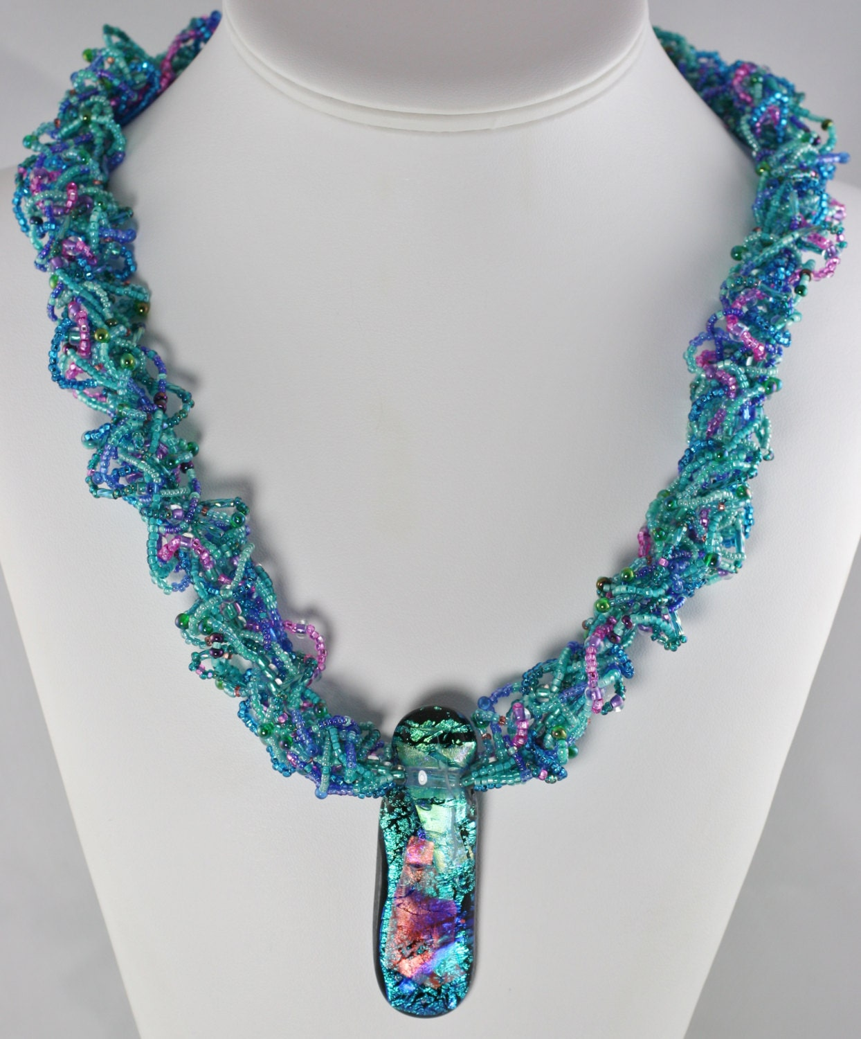 woven seed bead necklace with fused dichroic glass pendant and