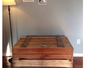 Storage Tack Trunk made with repurposed Pallet Boards, hinged in back with zinc-coated hardware, for indoor or outdoor use
