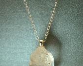 "Necklace of Tibetan "" Diamond"" Quartz crystal on Sterling Silver 18 inch chain  simple, boho, minimalist"