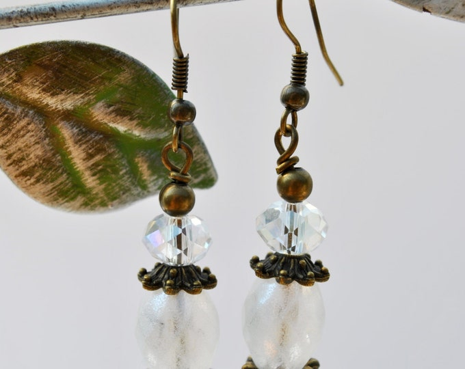 Vintage look frosted white Czech glass earrings with clear crystals and brass accents