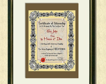 Game of Thrones - PERSONALIZED CERTIFICATE Of CITIZENSHIP  - Wall art print - Poster - Quote art print