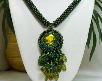 Kelp Forest Metallic Green Kumihimo Necklace with 27mm Rivoli Pendant, Handmade SRAJD 3520