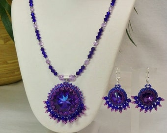 Set - Swarovski Crystal Necklace with 27mm Heliotrope Rivoli Pendant and Matching Earrings, Handmade SRAJD 3520