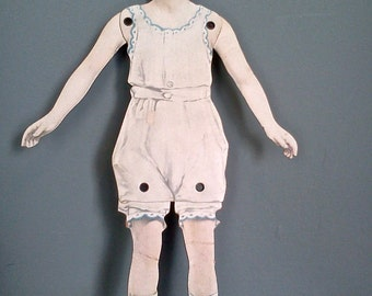 1920s Dennison Jointed Paper Doll Creased but Charming