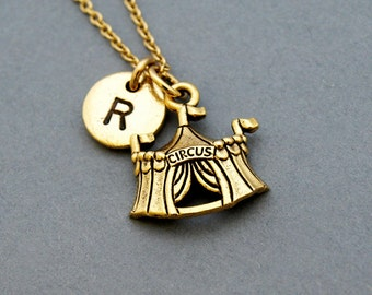 Circus tent necklace, Circus necklace, antique gold, initial necklace, initial hand stamped, personalized, monogram