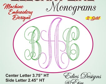 Elegant Line Monograms Machine Embroidery Monogram Font Digital Download