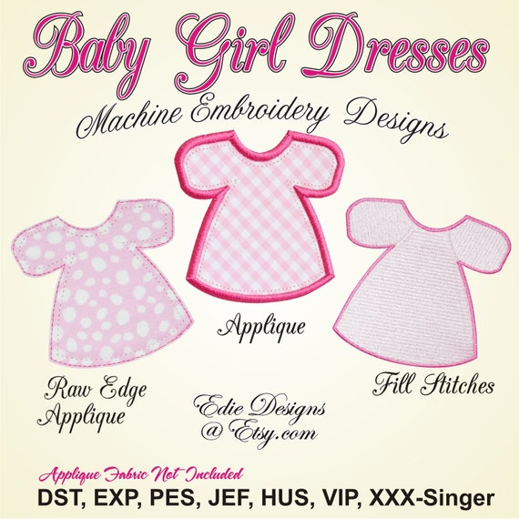 Baby girl dresses machine embroidery applique designs digital