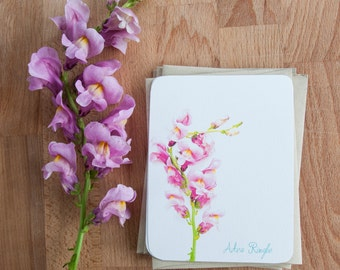 Pink Stationary, Personalized Note Card Set with Pink Snapdragon Flower. Gift for Teacher, Stationary Set