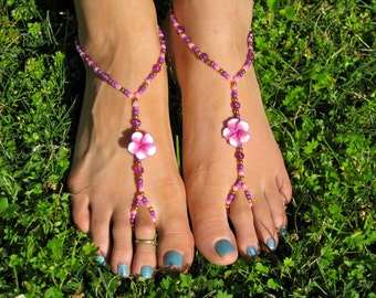 Pink, Purple, Gold Hawaiian Flowers Barefoot Sandals, Slave Anklet, foot thong, ankle bracelet with toe ring