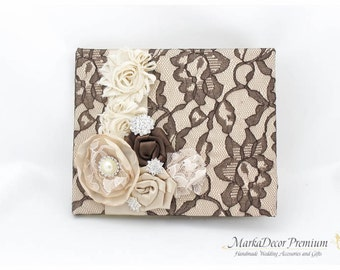 READY TO SHIP Wedding Lace Guest Book Custom Bridal Flower Brooch Guest Books in Dark Chocolate Brown, Champagne and Ivory