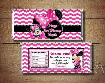 Printable Birthday Minnie Mouse Candy Bar Wrapper, Pink Chevron Polka Dots Minnie Mouse Candy Bar Wrapper, Printable Birthday Candy Wrappers