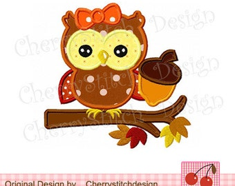 Autumn owl 02-Fall Digital Embroidery Appliqque -4x4 5x7 6x10-Season Machine Embroidery Applique Design