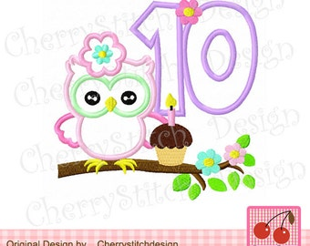 Owl number 10 Birthday embroidery applique -4x4 5x5 6x6""