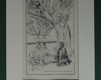 1907 Antique Print From Thomas Hughes' Tom Brown's School Days - Black & White - Tree Climbing - Riverside - Summer Days - Countryside Prin