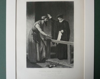 1883 Antique Print Of William Shakespeare's Merchant Of Venice - Theatre - Theater - Vintage Steel Engraving - Portia & Shylock - Tudor Pla