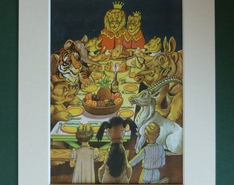 Fantasy art print, dream print of midnight snack,  African wild animal birthday, lion king nursery artwork, dreamy whimsical childrens art,