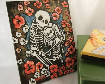 11X14 Wedding Canvas Art Print. Embracing Skeletons. Forever Love print. Wall Art for the Trippy Couple. Day of the Dead Art.