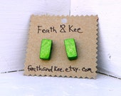Spring Green! Glittery Green Rectangles!  ReCycled Wood Earrings Handmade One Of A Kind