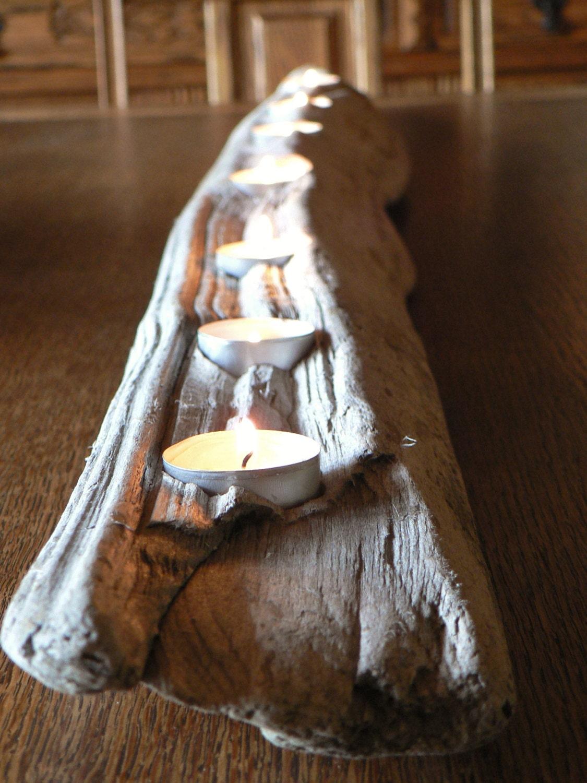 Rustic driftwood votive candle centerpiece large mantle