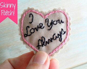 SKINNY patch. Groom Gift. Groom Gift from Bride. Hand Embroidered Tie Patch. Groom Tie. Necktie. Tie Patch. Wedding. Sew Happy Girls.