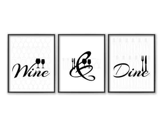 Black And White Wine Wall Decor : Dining room wall art kitchen prints