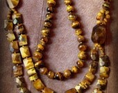 Vintage Shimmering South African Golden Tiger's Eye Divination Power Stone Geometric  Necklace