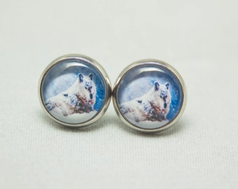 Glass Cabochon Earrings - Snowy Wolf On A Blue Background- Silver Setting - One Pair