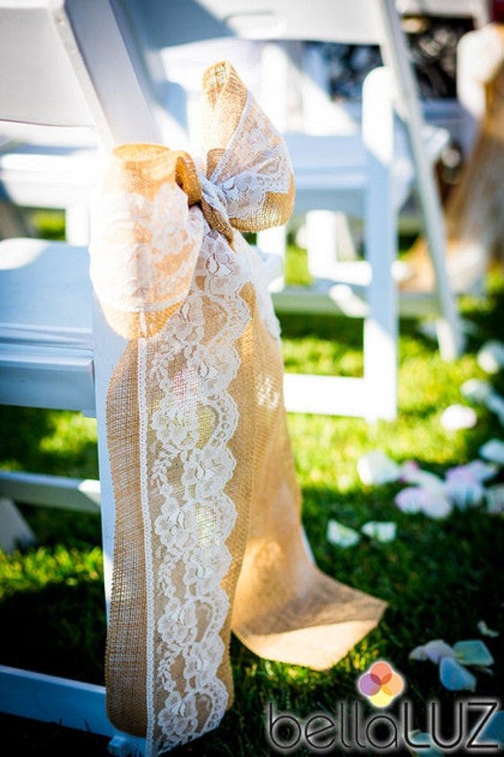 Burlap and Lace Wedding Ceremony Bow Qty 10 Aisle Bows Burlap Chair back bows Aisle Decoration Bows Rustic Wedding Decor