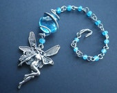 RESERVED- Silver Pixie Charm- Fairy- Blue- Rear View Mirror Charm- Window Charm- Gift for Her- Girlfriend- Gift Box Included - CassieVision