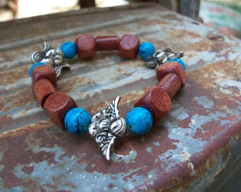 Let the Angels Be with You Stretch Elastic Wooden Bead Bracelet