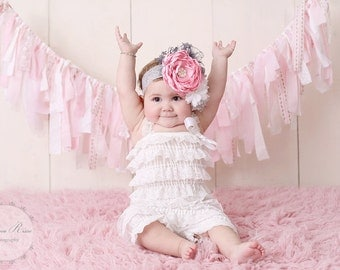 Flower Girl Headband Pink and Gray Flower Lace Feathers and Rhinestones