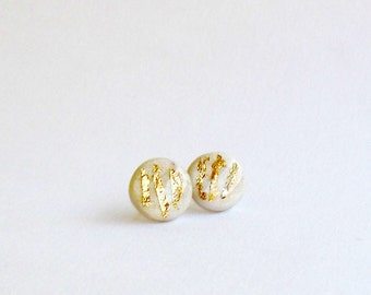 SALE- Ivory stud earrings with gold- Elegant jewelry for everyday
