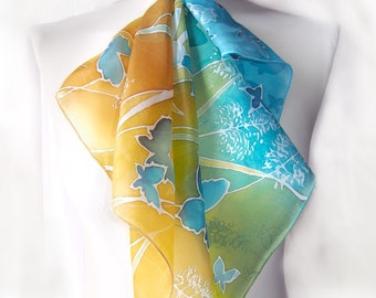 Hand painted scarves Meadow Butterflies - square scarves - blue butterflies silk scarf blue and gold -  blue scarf - yellow scarf