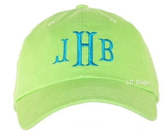 Monogram Baseball Hat | Baseball Cap | Personalized Baseball Hat | Personalized Lime Green Monogrammed Baseball Hat